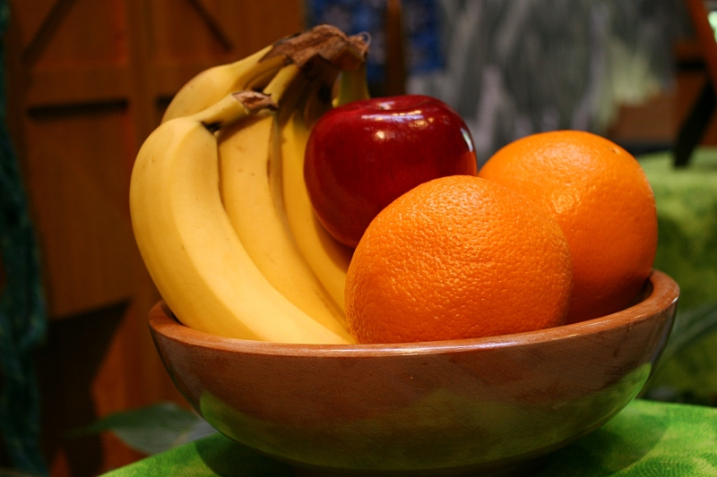 A simple bowl of fruit rests as a work of art and and example of God's Creation.