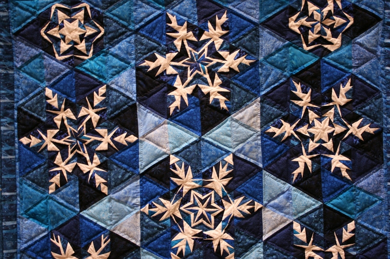Quilted snowflake art by Kevin Kreger, who coordinated the Creation themed art display,