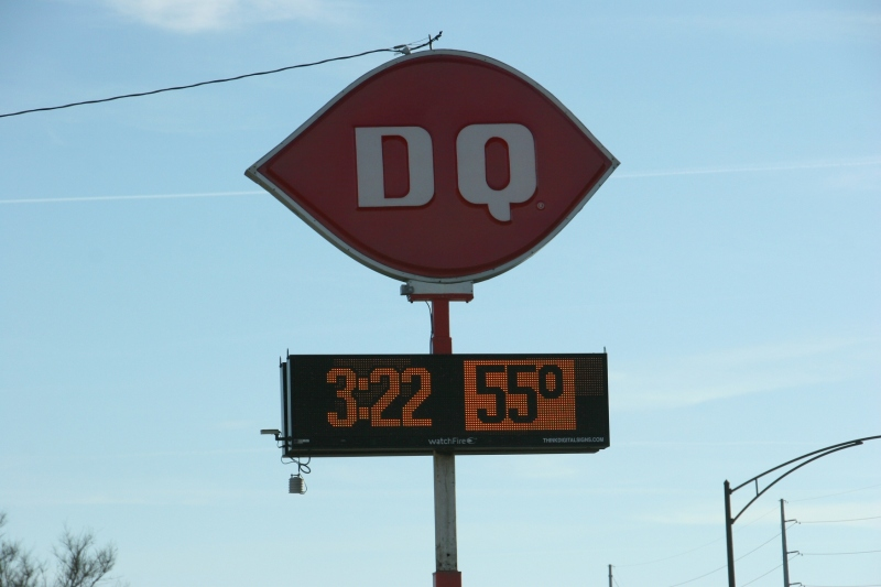 Pulling into the Dairy Queen, I snapped this temperature sign Saturday afternoon, February 27.