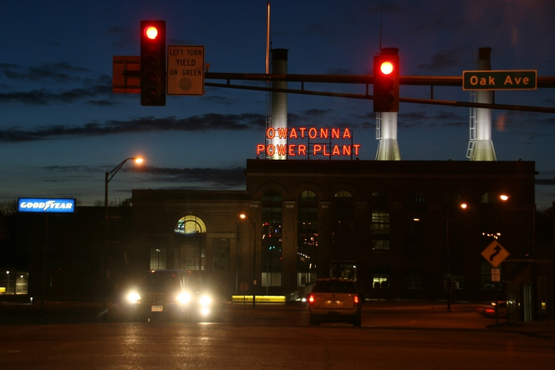 The Owatonna Power Plant building, photographed while waiting at a stoplight on Sunday evening.
