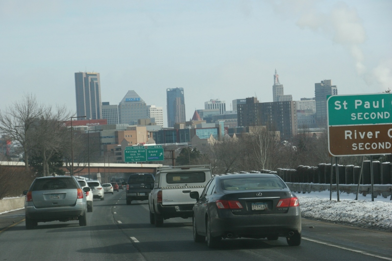 Approaching St. Paul from the south, the speed limit drops.