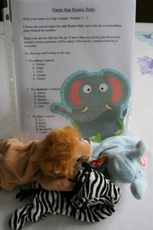 Beanie Babies were big when the mom-to-be and dad-to-be were growing up. So I asked guests to identify the elephant, lion and zebra. Only one guest correctly names them: Peanut, Roary and Ziggy.