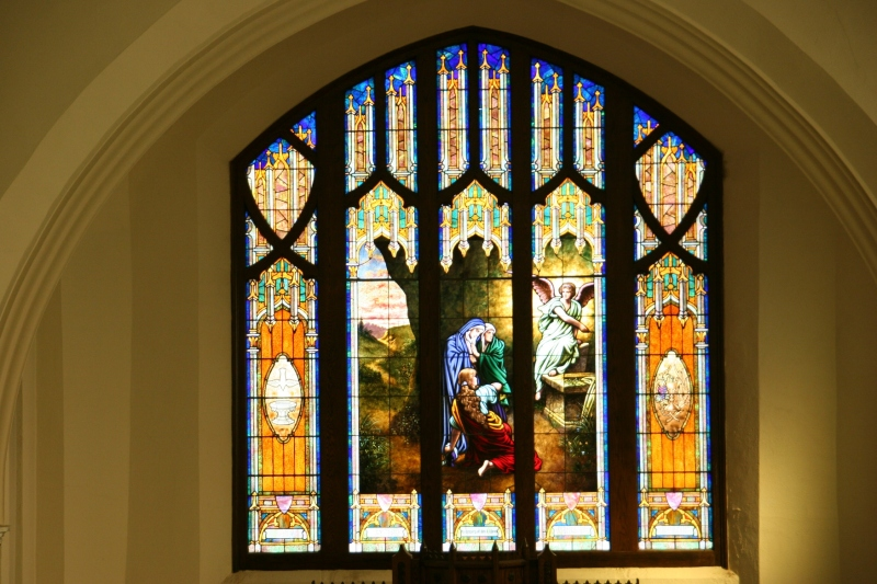 This stained glass window of the women at Jesus' empty tomb rises above the altar at Holden Lutheran Church, rural Kenyon, Minnesota.