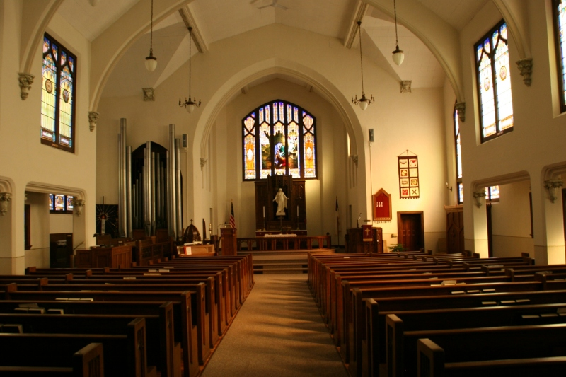 The beautiful sanctuary of Holden Lutheran Church.