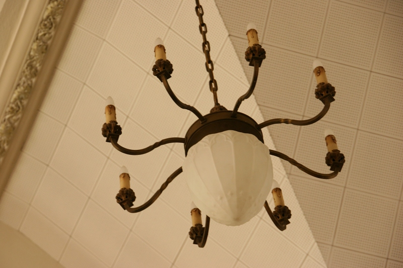 I assume this is an original vintage light suspended in the sanctuary.