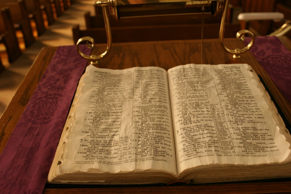 This bible, lying open on the lectern, was turned to