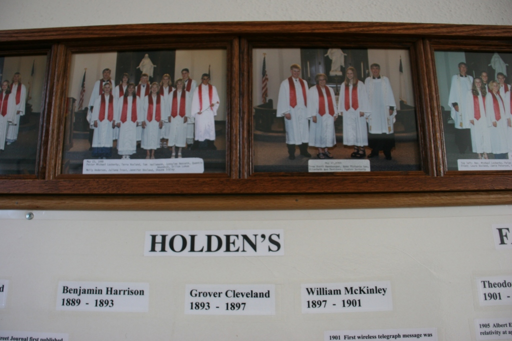 Confirmation photos hang above a history timeline.