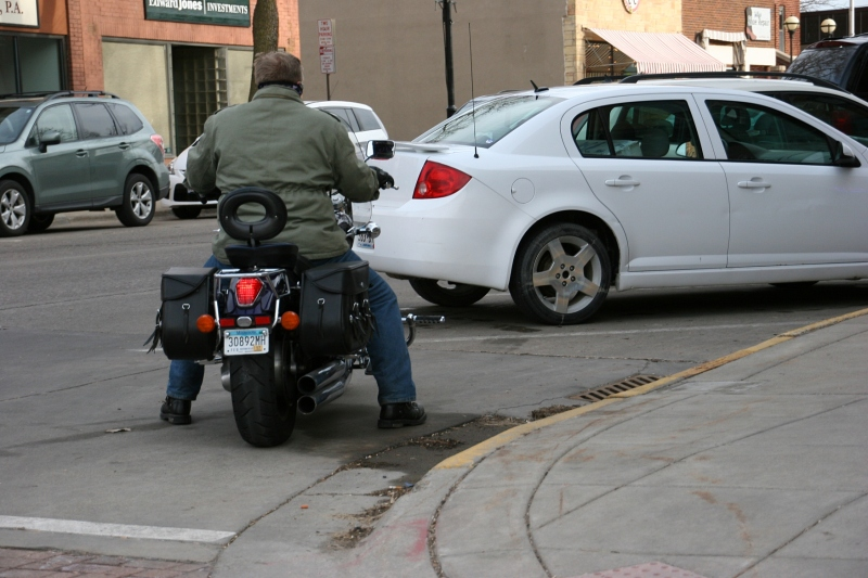 Motorcycles were out everywhere, including this biker on Division Street in downtown Northfield late Saturday afternoon.