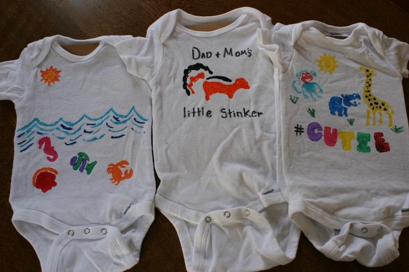 A niece created the ocean themed onesie on the left.