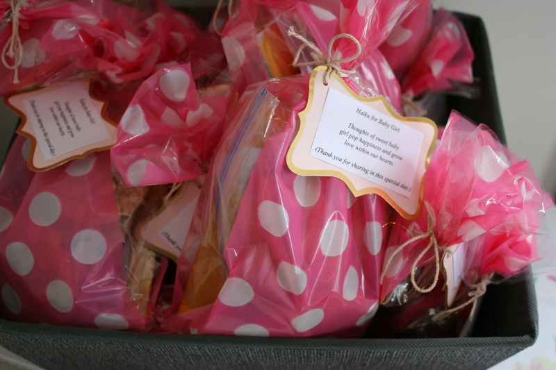 The gift bags, fully-assembled and ready for gifts. I purchased the bags at Party Plus in Owatonna.
