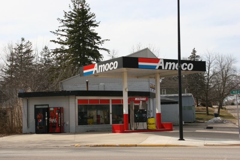 I love the classic corner angled gas station.