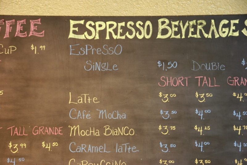 There are plenty of specialty coffee choices.
