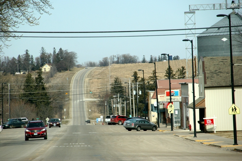 Driving into downtown Wanamingo along Minnesota State Highway 57 on a Saturday afternoon.