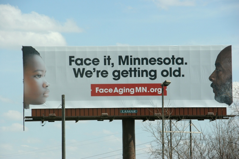 "This billboard along the northbound lane of Interstate 35 just north of Faribault prompted this post about aging. FaceAgingMN is ""a statewide campaign to raise awareness about the issues of aging that accompany the reality of a rapidly aging society."" The group's goal is ""to create a conversation about aging."
