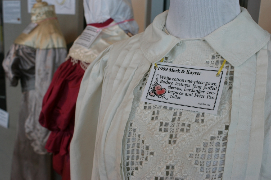 Look at the beautiful hardanger on this 1909 wedding gown.
