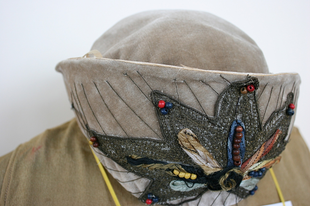 My favorite headpiece is this lovely hat worn by a bride in 1923.