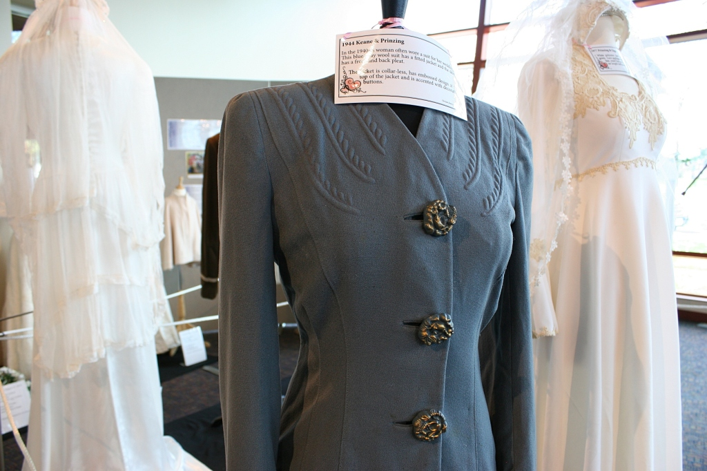The bride wore a blue grey wool suit at her 1944 wedding.
