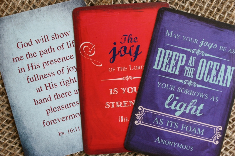 I also ordered joy-themed Scripture and inspirational cards from christianbook.com.