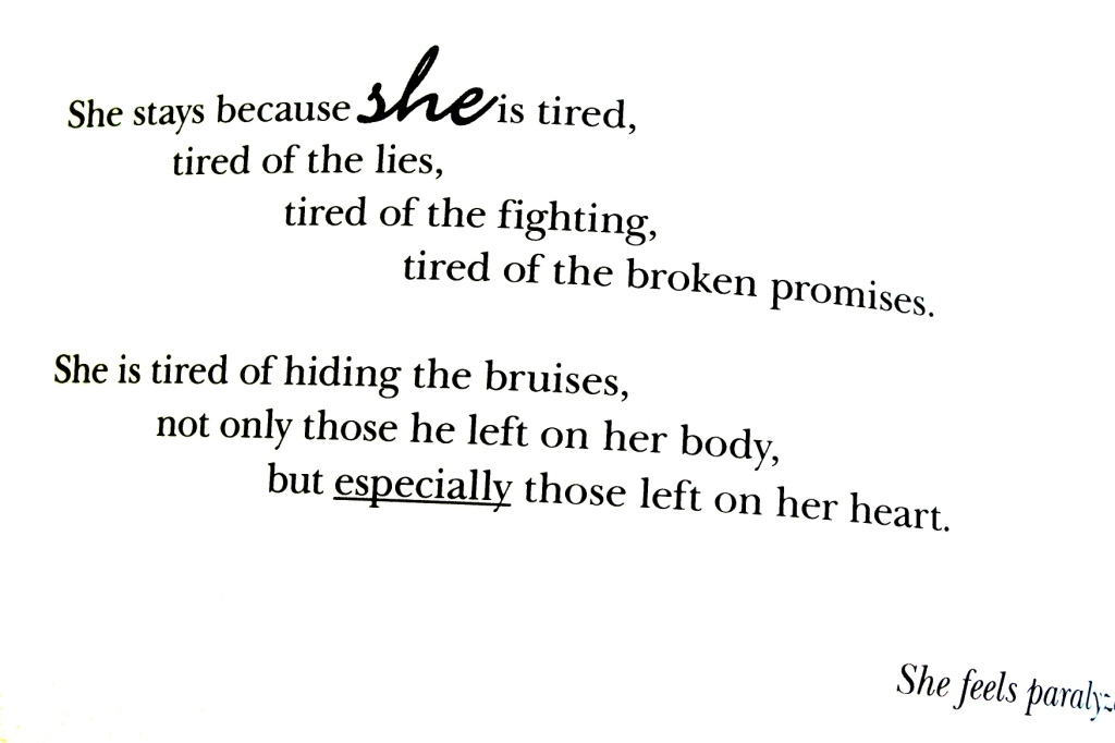 Reasons she stays, published on page 18. Text copyright of Erica Staab.