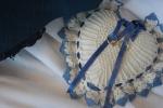 Exhibit, wedding dresses, 129 rings onpillow