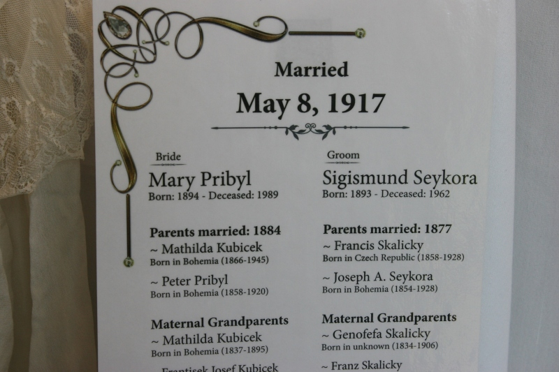 The exhibit team carefully researched the genealogies of the brides and grooms.