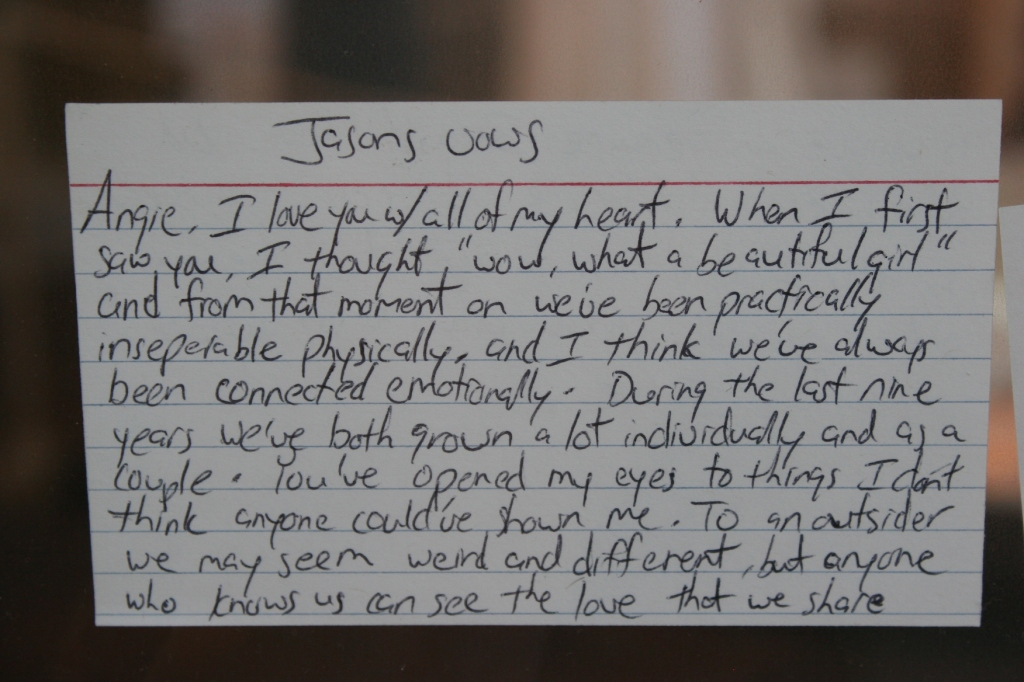 Even handwritten vows are part of the exhibit.