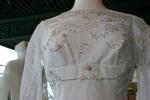 Exhibit, wedding dresses, 65 lace bodice close-up1950s