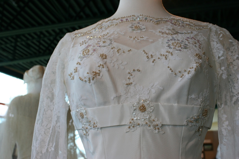 This photo shows the details on a 1950s dress.