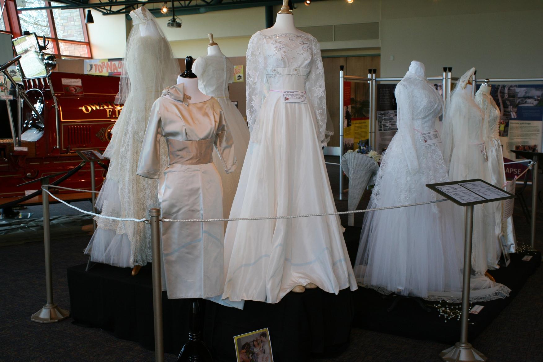 Exhibit, wedding dresses, 67 group of 1950s wedding dresses ...