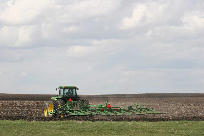 Prepping the soil for planting along 270th Street East in southern Rice County.