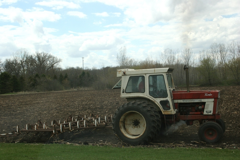 Just outside Medford this farmer prepped the soil Sunday afternoon.