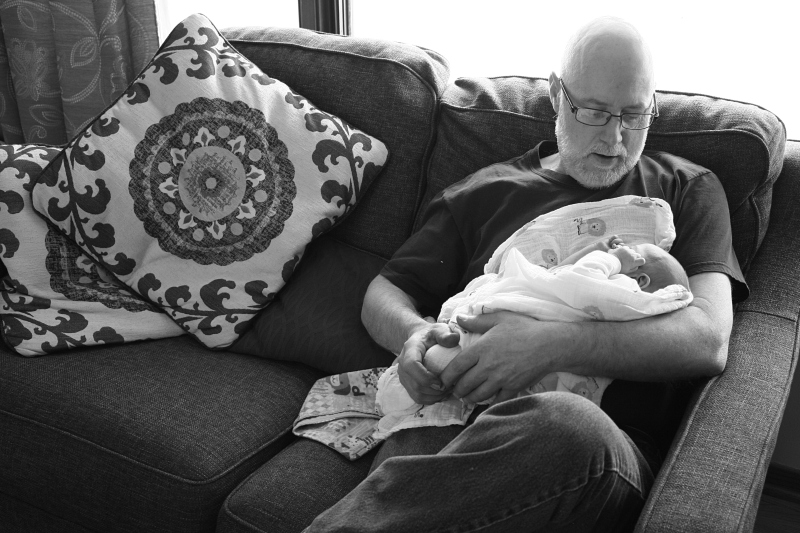 Grandfather and granddaughter.
