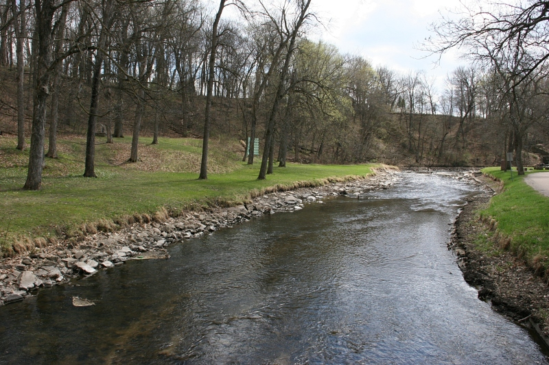 Maple Creek winds through the park. Several pedestrian bridges cross the waterway.