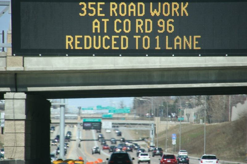 A sign near St. Paul flashes road construction info.