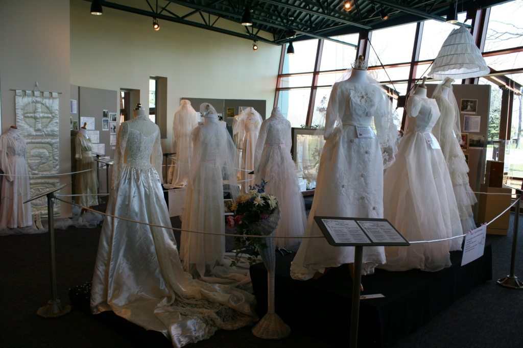A sampling of dresses in the exhibit.