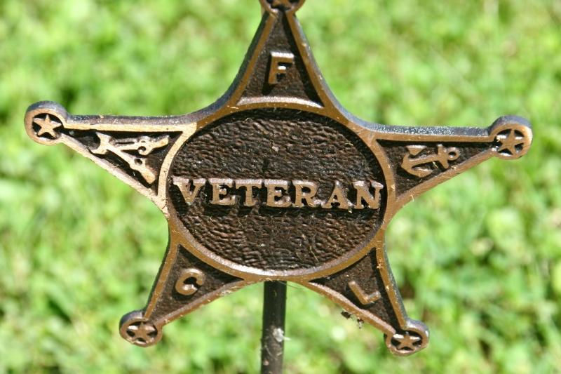 A bronze star marks a veteran's grave.