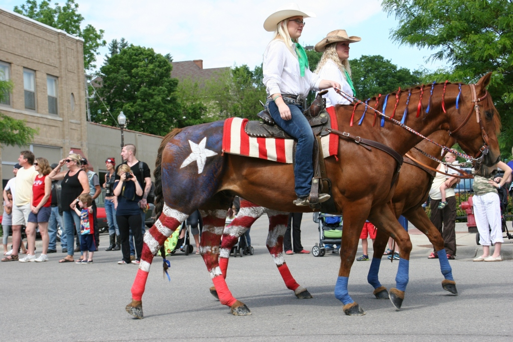 Parade, 56 patriotic horses