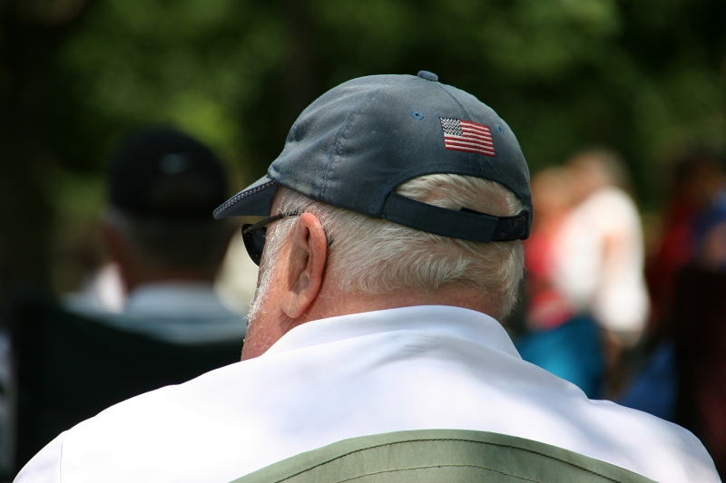 I noticed even the flag on the back of this man's cap.