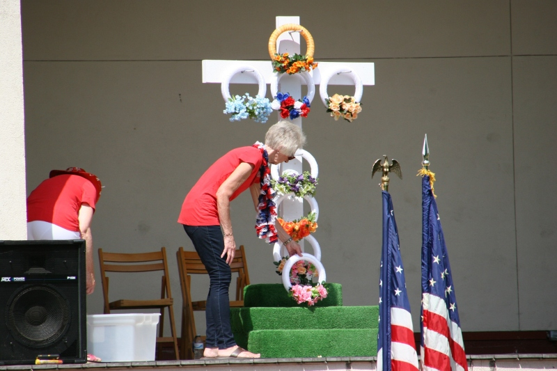 Wreaths placed on the cross represent the wars in which the U.S. has been involved.