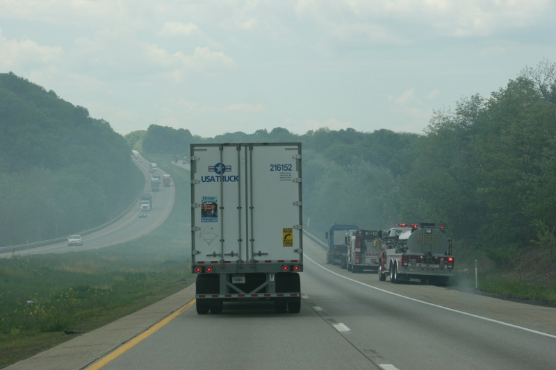 In the hills of Pennsylvania, we came across this truck fire along Interstate 80.