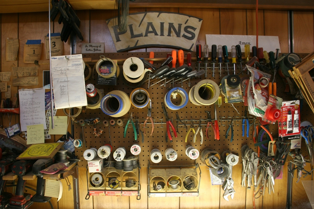 Tools of the trade in the workshop.