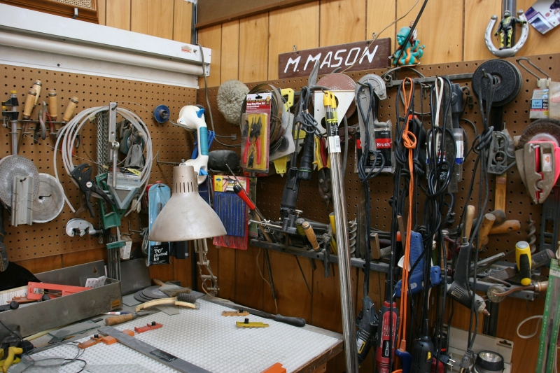 A corner in the workshop section of the business.