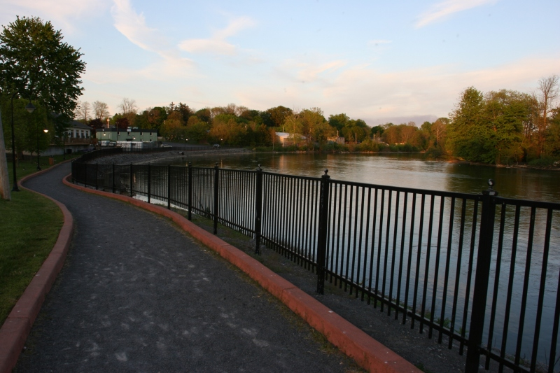 A walking path along the Seneca river in the heart of downtown Baldwinsville.