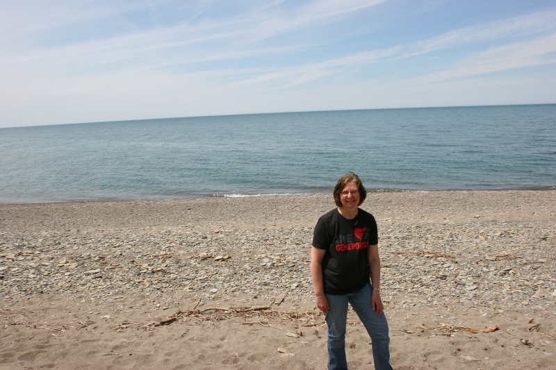 My husband obliged my request for a photo of me on the shores of Lake Erie.