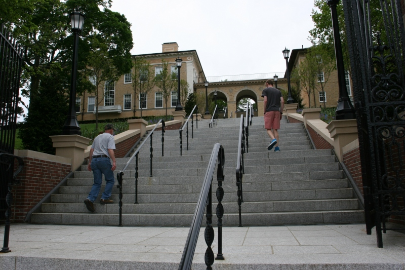 Caleb and Randy climb Memorial Steps, in honor of Tufts' war dead, to the campus. There are a lot of steps.