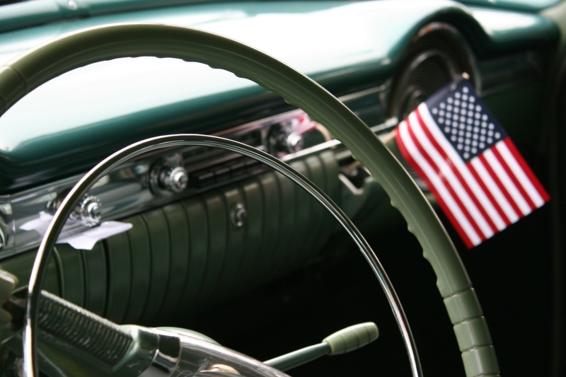 American pride inside a vehicle.