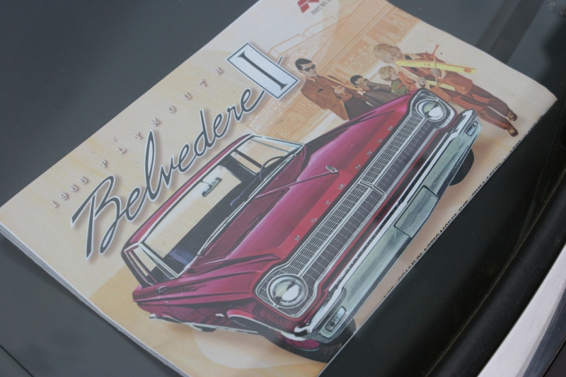 Details matter when you're a car collector. This Belvedere manual was laying on the dash.