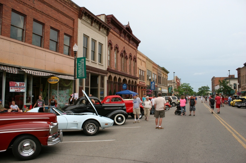 Aged buildings, most restored, define Faribault's Central Avenue.
