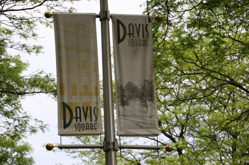 Banners mark Davis Square in Somerville, Massachusetts.