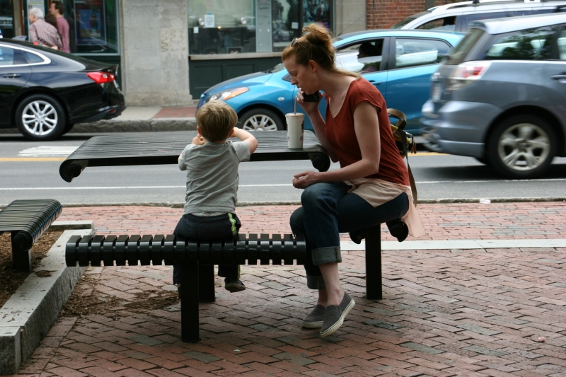I noticed lots of kids with their parents when I was at Davis Square.